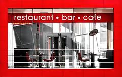 glasshouse (Crazy Ivory) Tags: red public glass crimson bar canon restaurant cafe belgium chairs bright framed frame inside antwerp antwerpen 100mmf28 canon100mm28 canon100mmf28usmmacro 40d canoneos40d canon40d gettygermanyq2 gettygermanyq3 gettygermanyq4