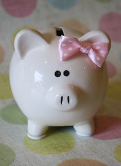 pink bow piggy bank