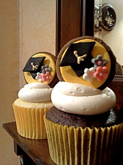 Graduation Cupcakes (Ode to Inspiration) Tags: pink flowers brown yellow grey diploma gray graduation cupcake graduationcap jumbocupcake