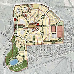 """traditional neighborhood development"" scenario (by: Dover, Kohl via draft Redevelopment Plan)"