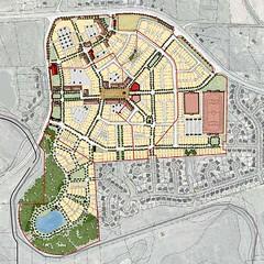"""traditional neighborhood development"" scenario (by: Dover, Kohl via draft Redevelopment Plan)"
