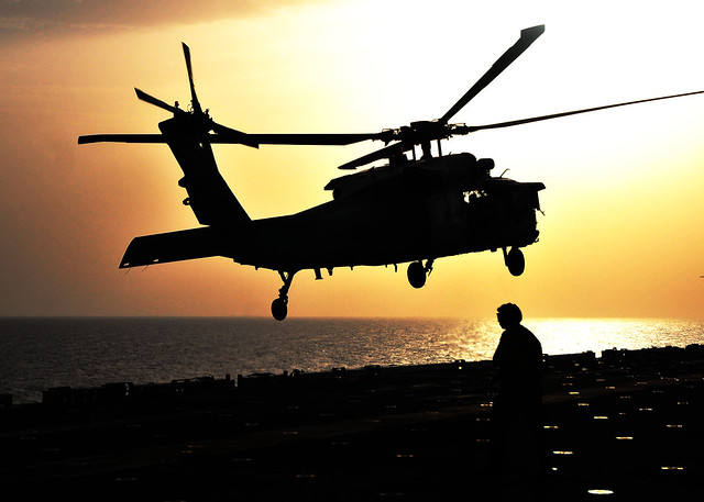 MH-60S Seahawk Helicopter on the Flight Deck of USS Boxer