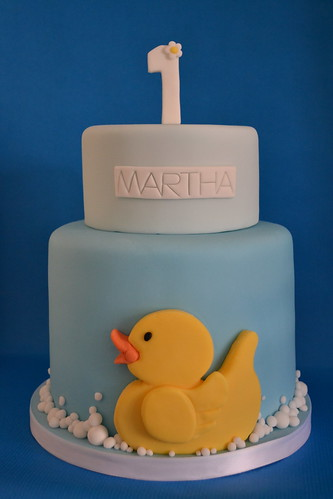 Yellow duck 1st birthday cake