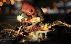 Welder's Musical Symbols-The dance of light () Tags: light night dance musical symbols magicalmoments 100f welder