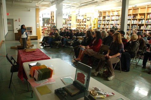 Namita Wiggers curator at the Contemporary Craft Museum introducting me at Powell's