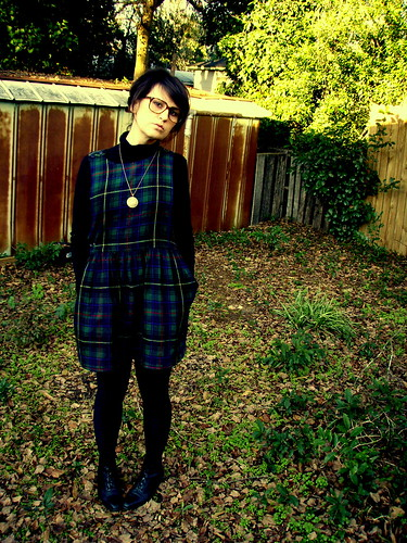 green plaid schoolgirl jumper