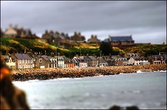 Fake Plastic Portessie (manlio_k) Tags: road sea photoshop landscape toy coast scotland fake tiltshift portessie