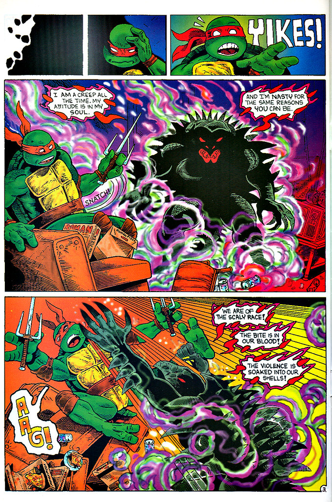 """Raphael : Snapper""   by Rick McCollum  with Tom Anderson and Peter Laird  { Turtle Soup #2 } pg.3  (( December 1991 ))"