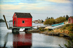 Stonehurst Cove, Blue Rocks, Nova Scotia (sminky_pinky100 (In and Out)) Tags: blue red canada water clouds reflections landscape boats rocks novascotia ns fishingvillage wwp shacks 5photosaday atlanticprovinces bej abigfave omot anawesomeshot cans2s eyejewel awonderfulplaceoftranquility