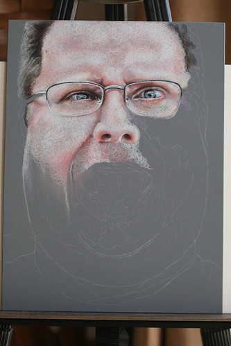 In progress colored pencil portrait of Kevin Lawver entitled Ultranormal II