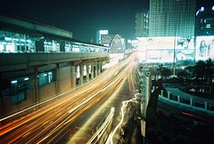 the city comes alive (Stitch) Tags: longexposure train lomo lca xpro fuji philippines transport guadalupe weekly provia metrorail pasig fujiprovia100f interestingness425 i500 explore24feb09