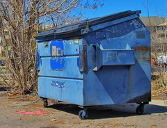 Blue Dumpster (patrick.swinnea) Tags: blue urban trash dumpster colorado rusty weathered hdr dingy arvada grimy photomatix canona550