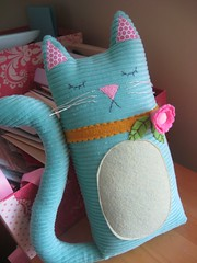 She's HERE!!! (chelstastic) Tags: pink orange flower cakes marie cat paper toy kitten aqua pretty little martha handmade teal thing sewing kitty felt polka dot plush pillow lori stewart stitching etsy decor corduroy finds artisan