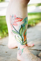 Second Color Sitting (pricklypearbloom) Tags: tattoo foot 50mm nikon sock leg bubbles kelp octopus chacha sleeve d80 seasock jonboyart
