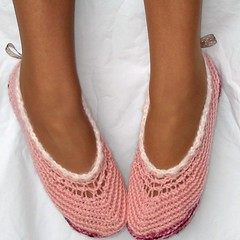 Pink Fem Slippers (Genevive_Too) Tags: baby feet socks children infant shoes handmade patterns crafts crochet gifts footware newborn indie accessories easy etsy genevive slippers booties babybooties christmasgifts loafers originaldesign artfire crochetpattern crochetpatterns crochetslippers