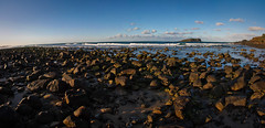a stones throw (Byza) Tags: sky water clouds rocks pano nsw qld rockpools fingal brisbanemeetup byza byronhayes