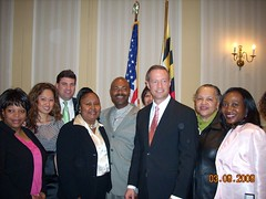 Senator Peters with Oak Creek Residents and Governor Martin O'Malley