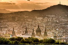 Golden Hour. (Leo Druker) Tags: barcelona city sunset orange sun mountains castle weather glow cityscape catalonia spanish catalunya catalan montjuic orangeglow barcelonaspain sunsetview montjuiccastle barcelonaview barcelonacatalonia nikkor7020028 nikond3 castellmontjuic