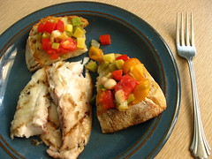 dinner 8.24.09 (mamichan) Tags: fish tomato bread pepper zucchini eats tilapia csa localeats