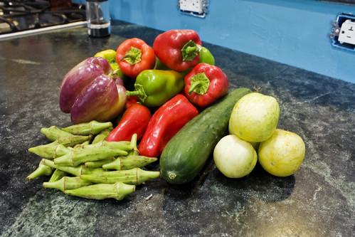 peppers okra cucumber