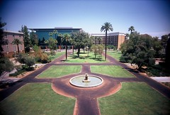 Arizona State University (kevin dooley) Tags: old school arizona building tree film college fountain analog 35mm circle campus lens lomo lomography education university slim looking angle state kodak path balcony main north wide az mini quad palm foundation plastic walkway asu 100 higher viv vivitar ultra quadrangle extra tempe uws ebx vuws vivalaviv