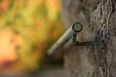 help (helen sotiriadis) Tags: light orange brown green metal stone wall canon fence grey published dof bokeh gray rail depthoffield greece chios canonef100mmf28macrousm canoneos40d χίοσ toomanytribbles