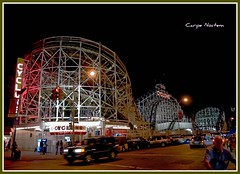 street wood nyc newyorkcity ny newyork history brooklyn night coneyisland lights evening wooden neon ride nightshot rollercoaster coaster cyclone thrill