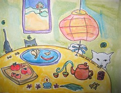 teapot no. 33 (333) ~ tea party (Neshamah Spirit Art) Tags: watercolor painting tea teapot set4 100teapots nicoleraisinstern tortugaenoregon