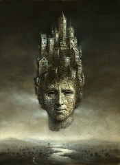 Head castle (Yaroslav Gerzhedovich) Tags: old shadow mist building tower castle art rock fog stone illustration painting paper landscape town acrylic mood image spirit surrealism picture brush illusion fantasy imagination gloom mystic drybrush headdress sharingart artistictreasurechest imageourtime bestgraphicdesignersinworld