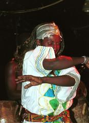 Mac Tontoh Project from Ghana at the Africa Centre London July 2001 040 dancer (photographer695) Tags: world africa from 2001 music london mac african centre band july jazz ghana warriors ashanti kete trumpeter amanas osibisa tontoh nanaeba exosibisa
