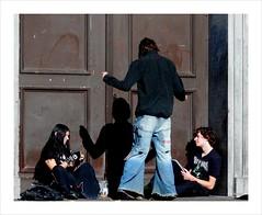 Talking to his shadow . (Franc Le Blanc .) Tags: shadow people church hippies lumix sitting candid panasonic sit streetphoto seated kerkstraat shertogenbosch dmcfz18