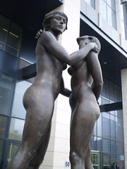 Sculpture Female Nudes Embracing 13 - Finance Tower Brussels