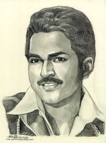 Indian man portrait in pencil