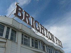 Brighton Pier (Katie-Rose) Tags: uk blue windows summer sky holiday clouds lights pier brighton seagull shapes eastsussex katierose canonpowershota700 fbdg