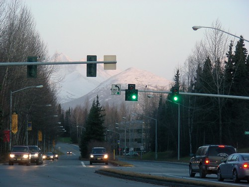 Chugach Mountains from UAA when I left work this evening. Snows gonna be down here pretty soon, too.