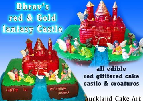 RED & GOLD GLITTER FANTASY CASTLE BIRTHDAY CAKE