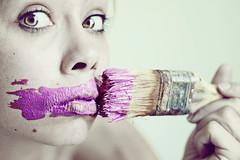 Decoupage (mickiky) Tags: pink woman selfportrait me painting myself donna paint acrylic purple magenta rosa brush autoritratto remotecontrol viola ritratto fucsia paintbrush autoscatto decoupage acrilico pennello pittura
