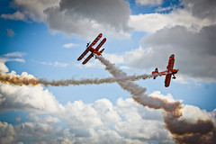 Breitling Wing Walkers (Lilla~Rose) Tags: uk flying aircraft aviation events flight aeroplane airshow duxford british 365 cambridgeshire airshows gettyimages wingwalking imperialwarmuseum breitling iwm wingwalkers eventful britishness breitlingwingwalkers gettywants duxfordspringairshow2011 gettycurators attentiongettywants attentiongettyeditors