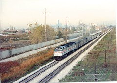 Westbound Amtrak Southwest Chief on the original Atchinson, Topeka & Santa Fe mainline.Stickney Illinois. October 1989.