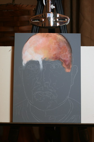 In progress painting entitled Self Portrait VI