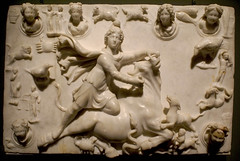 slaughtering Mithra (galdo trouchky) Tags: sculpture france art history museum god roman louvre antique religion bull exhibition marble arles sacrifice mithra
