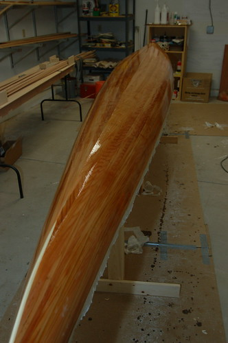 Kayak with glassed hull