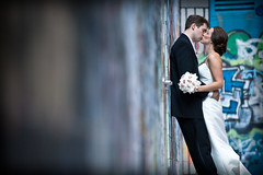 graffiti love (Kirsten Alana) Tags: travel blue wedding portrait canon graffiti groom bride alley erin michigan annarbor uofm 5d todd vignette weddingphotography graffitialley explored clientwedding seeninexplore visibleimagesphotography wwwvisibleimagescom westfarrell uofmgraduateswed explorefeb182009