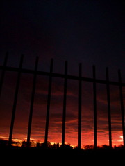 Gates. (crooked souls) Tags: trees sunset silhouette clouds evening gate gates darlington