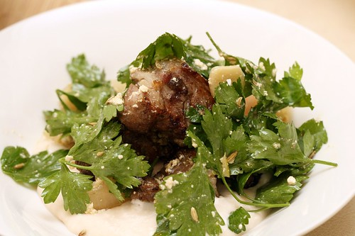 Grilled lamb neck with white bean skordalia