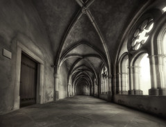 The Cloister of Trier (Guido Musch) Tags: door old light blackandwhite church germany deutschland nikon dom hallway explore cloister stitched hdr trier sigma1020 d40 ohyeahbeforeiforget guidomusch howcomeihavevisitedsomanychurcheslastweek reallylike10orsomething likeascenefromharriepotterright thenewfilmwillbepremieredthisweekinthenetherlands andthefirstpremierewillbeonansmallislandwithapopulationoflessthen1000people nowyoumayguesswhereiamrightnow andnoimnothereforthatmovie