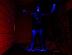self painting self portrait (MM ©) Tags: blue red selfportrait lightpainting led paintingwithlight strangeness perspex wallsend northtyneside bulbmode selfpainting northeastuk longexposureatnight armedwithtorches