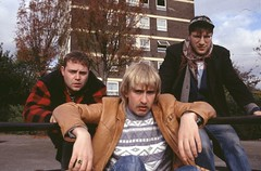Fat Bob (John Thomson), Paul Calf (Steve Coogan) and Roland (Patrick Marber) in Paul Calf's Video Diary