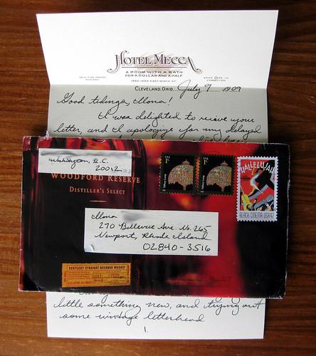 Vintage letterhead in a bourbon envelope