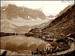MANIMAHESH LAKE (manumint-[BUSY]) Tags: people india snow mountains beautiful sepia faith devotion sacred yogi meditation om shiva hinduism kailash himalayas sadhu chanting scenicview  omnamahshivaya pirpanjalrange incredibleplace manimahesh himachalpardesh devbhumi unseenindia manimaheshlake ilovehimachal